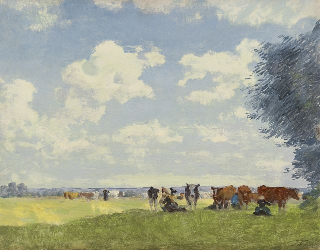 Jan Voerman sr. | Milking time in the shade, Öl auf Tafel, 32,3 x 41,2 cm, signed l.r. with initials