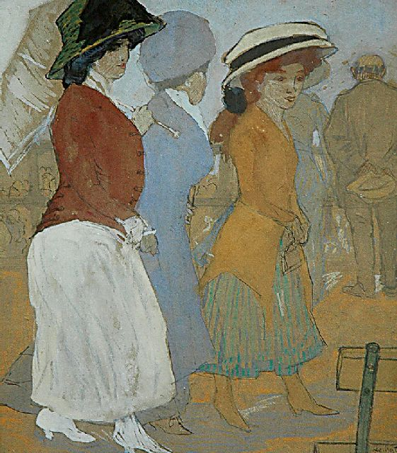Leo Gestel | Three ladies on the Scheveningen boulevard, Schwarze Kreide und Aquarell auf Papier, 32,5 x 27,5 cm, signed l.r. und dated 'Scheveningen '09'