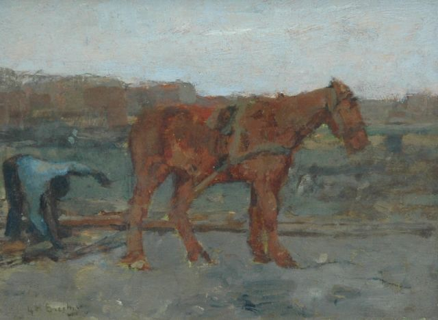 George Hendrik Breitner | Horse with towing line, Öl auf Tafel, 14,0 x 18,3 cm, signed l.l.