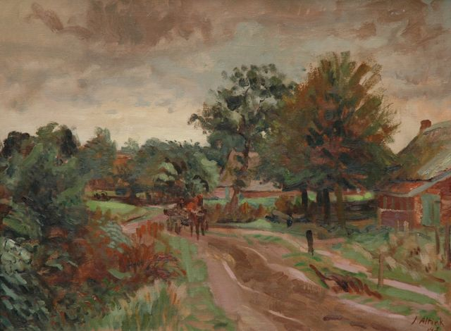 Jan Altink | A country road, Groningen, Öl auf Leinwand, 60,3 x 80,0 cm, signed l.r. und datiert '43