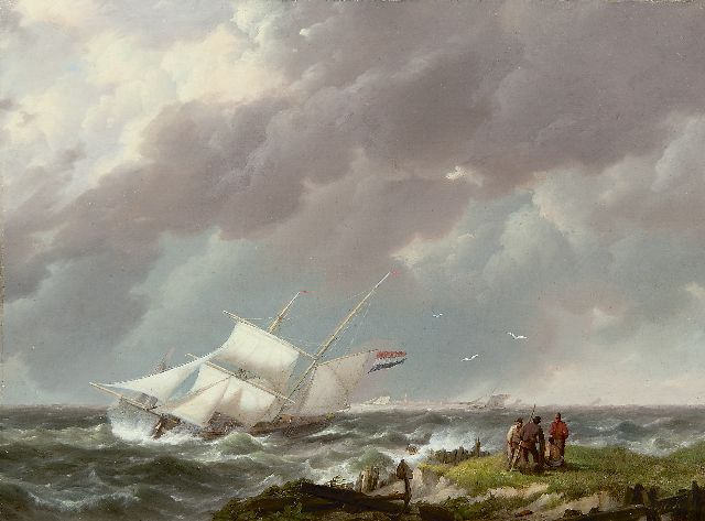 Hermanus Koekkoek | A barquentine in a storm off the coast, Öl auf Tafel, 21,9 x 29,5 cm, signed l.r. with initials