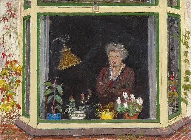 Harm Kamerlingh Onnes | A woman in an bay window, Öl auf Holzfaser, 30,2 x 40,0 cm, signed l.r. with monogram und dated '50