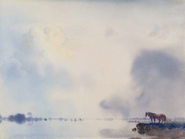 Jan Voerman sr. | A view of the river IJssel near Hattem, Öl auf Tafel, 34,9 x 47,0 cm, signed l.r.