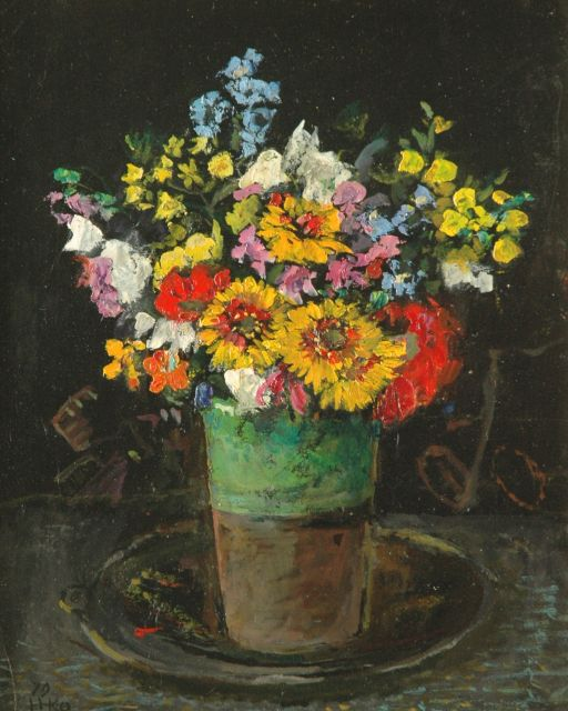 Harm Kamerlingh Onnes | A colourful bouquet in a green vase, Öl auf Holzfaser, 34,5 x 28,0 cm, signed l.l. with monogram und dated '79