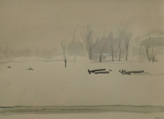 Harm Kamerlingh Onnes | Winter in a public garden, Aquarell auf Papier, 22,2 x 29,9 cm, signed l.r. with monogram und dated '70