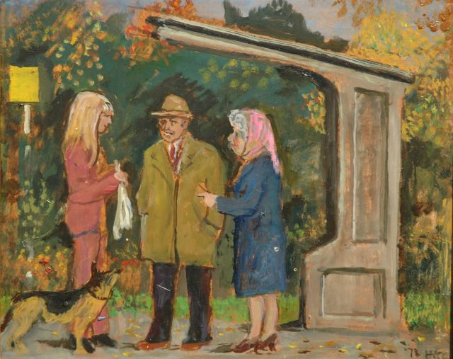 Harm Kamerlingh Onnes | A talk at the busstop, Öl auf Holzfaser, 27,2 x 33,5 cm, signed l.r. with monogram und dated '78
