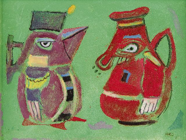 Harm Kamerlingh Onnes | The cupbearers, Öl auf Holzfaser, 18,5 x 24,3 cm, signed l.r. with monogram und dated '53