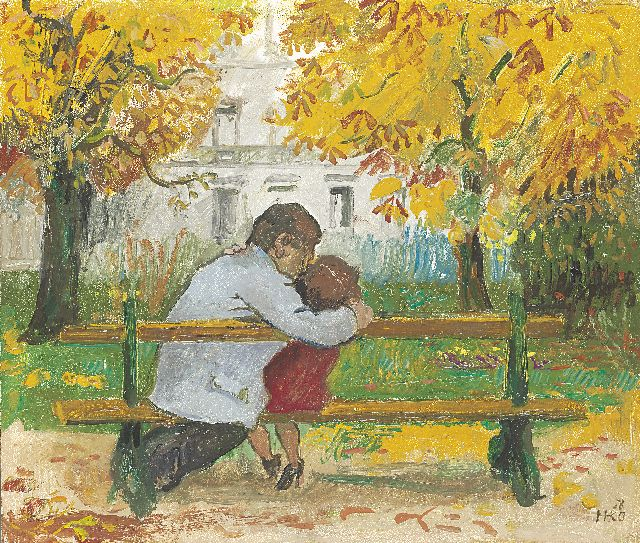 Harm Kamerlingh Onnes | Kissing couple in the park, Öl auf Holzfaser, 34,0 x 39,9 cm, signed l.r. with monogram und dated '58