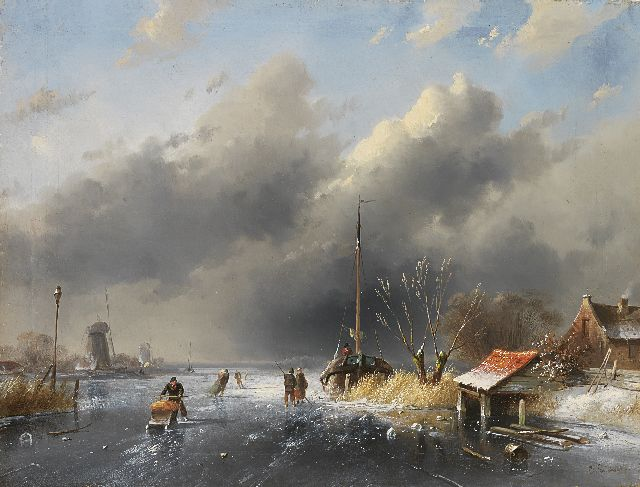 Charles Leickert | Skaters on a frozen river, Öl auf Tafel, 26,8 x 35,5 cm, signed l.r.