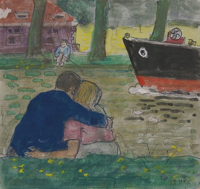 Harm Kamerlingh Onnes | A couple sitting on the banks of the Vliet in Delft, Feder und  Aquarell auf Papier, 15,0 x 15,8 cm, signed l.r. with monogram und dated '78