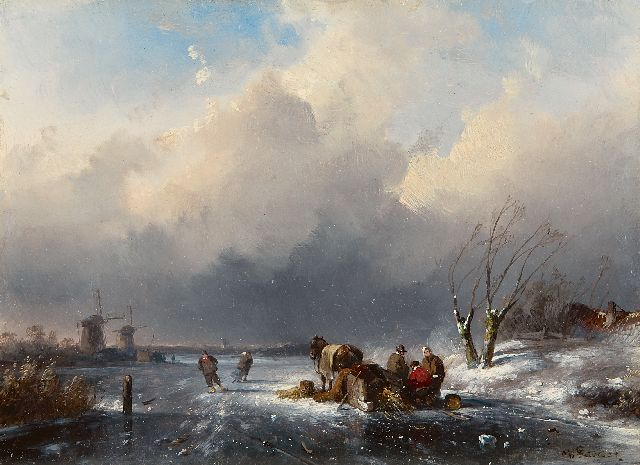 Charles Leickert | Land folk by a sledge on a frozen river, Öl auf Tafel, 15,2 x 20,7 cm, signed l.r.