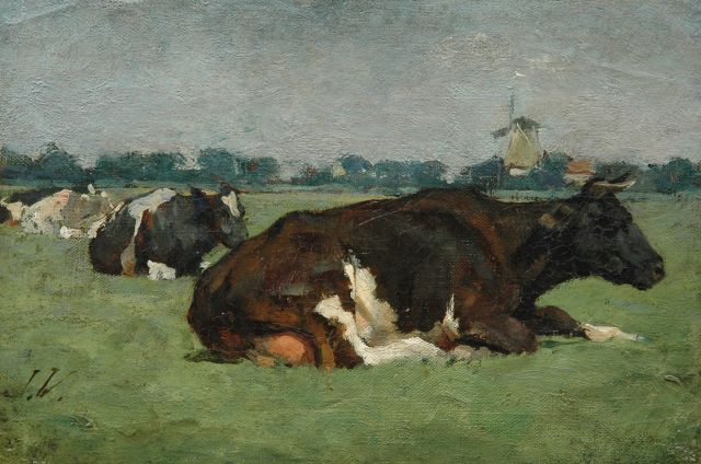 Jan Voerman sr. | Cows in a meadow, Öl auf Leinwand auf Tafel, 18,9 x 28,1 cm, signed l.l. with initials