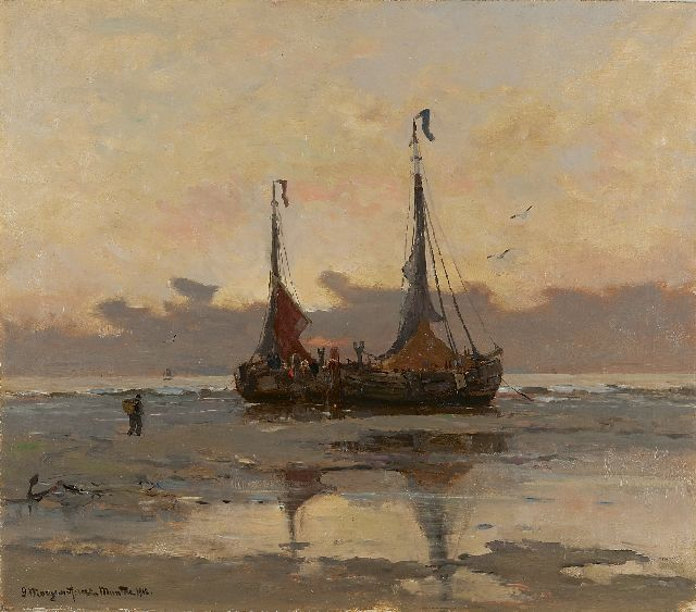 Munthe G.A.L.  | Fishing boats at low tide, Öl auf Leinwand 55,3 x 63,3 cm, signed l.l. und dated 1912