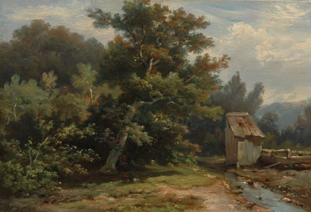 Hermanus Koekkoek | A wooded landscape with a stream and shed, Öl auf Tafel, 14,1 x 20,1 cm, signed l.l.
