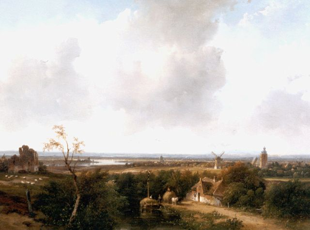 Andreas Schelfhout | A panoramic summer landscape with the ruin of Brederode, Öl auf Tafel, 34,4 x 43,8 cm, signed l.l. und dated '59