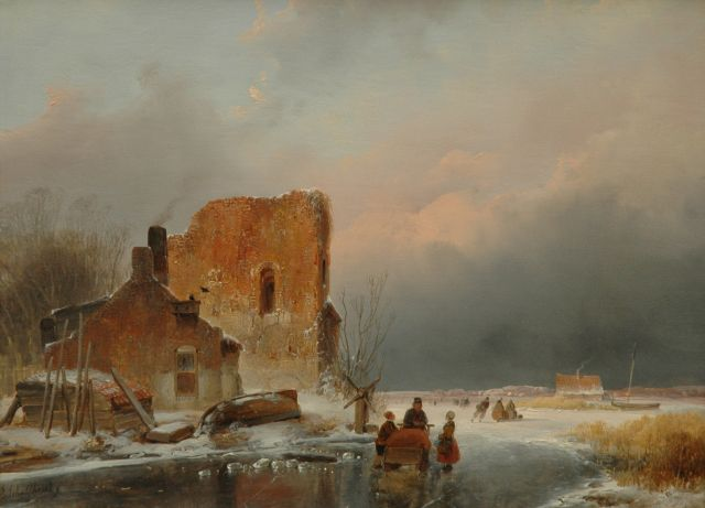 Andreas Schelfhout | Winterlandscape with skaters, Öl auf Tafel, 27,0 x 36,0 cm, signed l.l., and with a brandmark on the reverse und dated 1839 on the reverse