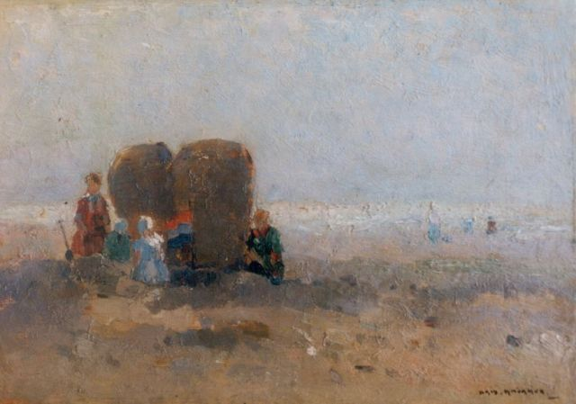 Knikker A.  | Figures on the beach, Öl auf Malereifaser, 19,5 x 28,0 cm, signed l.r.