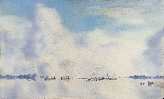 Jan Voerman sr. | The river IJssel with sailing vessels, Öl auf Holzfaser, 45,5 x 75,1 cm, signed l.r.