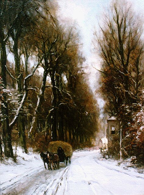 Louis Apol | A hay-wagon in a snow-covered landscape, Öl auf Leinwand, 70,2 x 55,4 cm, signed l.l.