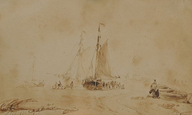 Andreas Schelfhout | Fishermen and fishing smacks on the beach, Sepia auf Papier, 9,0 x 14,0 cm, signed l.l.