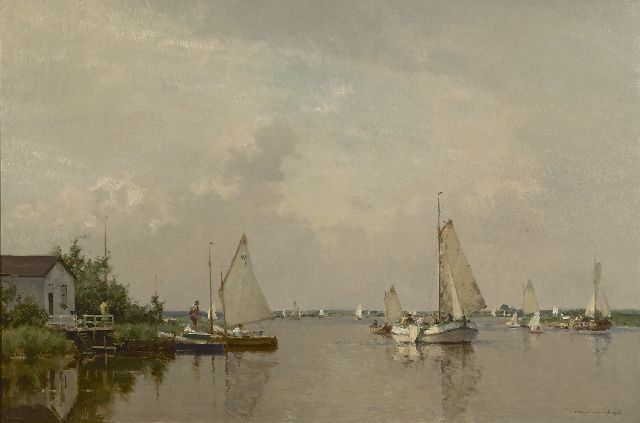 Cornelis Vreedenburgh | A view of a lake with a lemsteraak and other sailing vessels, Öl auf Leinwand, 60,2 x 90,2 cm, signed l.r. und dated 1936