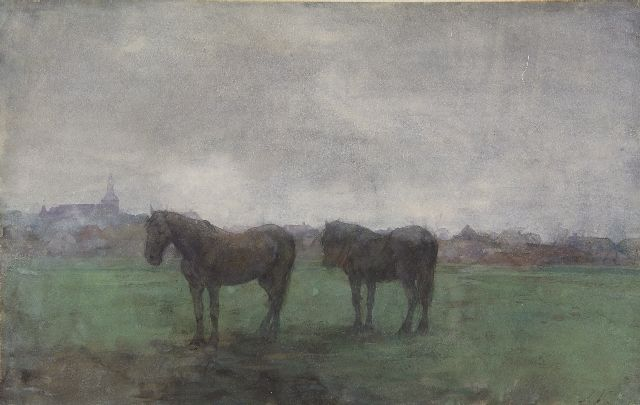 Jan Voerman sr. | Two horses in a meadow, near Hattem, Aquarell auf Papier, 29,6 x 46,8 cm, signed l.r. with initials