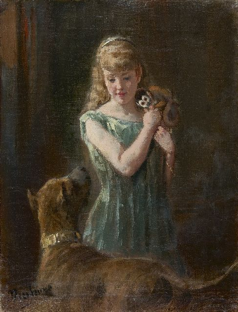 Otto Eerelman | Girl with monkey and dog, Öl auf Leinwand, 32,1 x 24,6 cm, signed l.l.