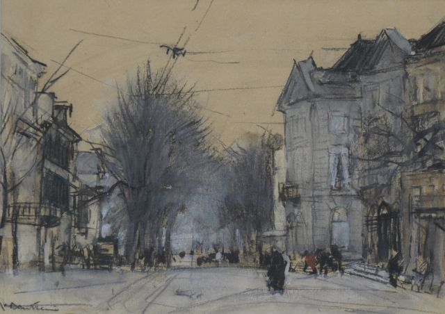 Floris Arntzenius | The Korte Voorhout, The Hague, Kreide und Aquarell auf Papier, 14,3 x 20,1 cm, signed l.l.