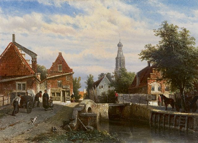 Springer C.  | A view on the Staaleversgracht in Enkhuizen, Öl auf Tafel, 36,2 x 50,0 cm, signed l.l. und dated 1866