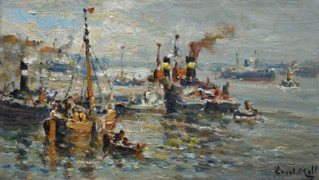 Moll E.  | A harbour view with tugs, Öl auf Leinwand 20,5 x 35,2 cm, signed l.r.