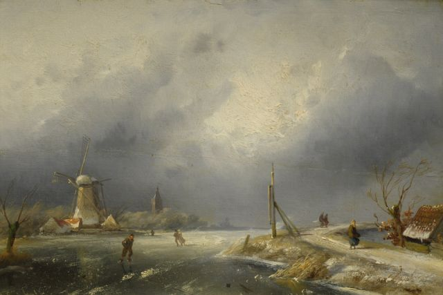 Charles Leickert | Winterlandscape with mill, Öl auf Tafel, 21,5 x 32,0 cm, signed l.l.