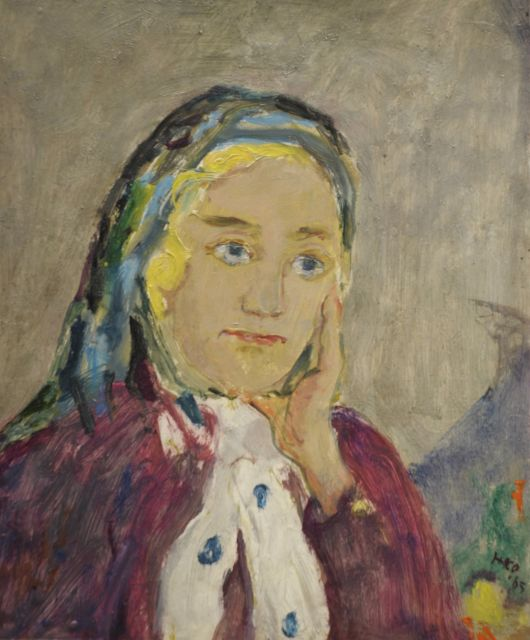 Harm Kamerlingh Onnes | A woman wearing a scarf, Öl auf Holzfaser, 27,2 x 22,7 cm, signed l.r. with monogram und dated '65