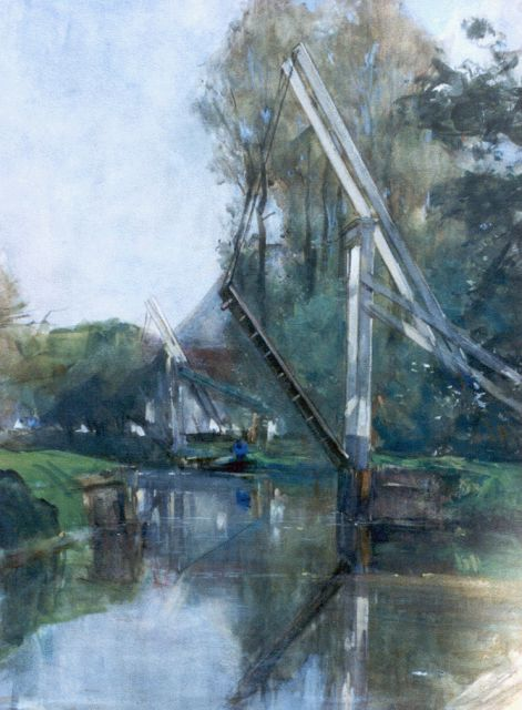 Floris Arntzenius | Canal with draw-bridge, Aquarell auf Papier, 44,5 x 33,5 cm, signed signed l.r.