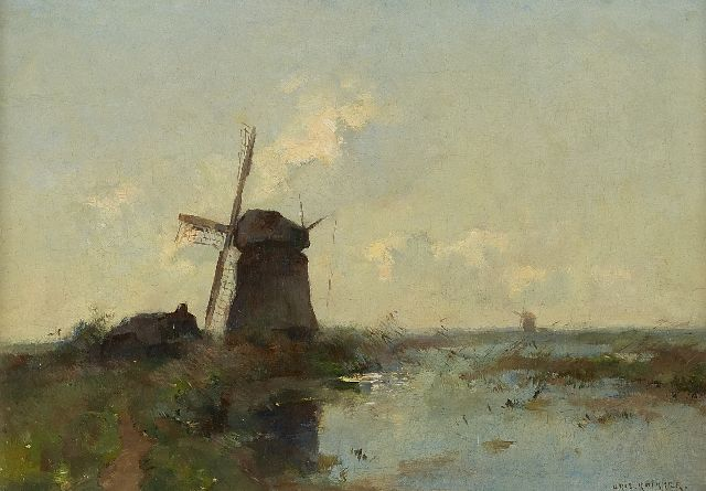 Knikker A.  | Mills in the polder, Öl auf Leinwand, 30,0 x 43,0 cm, signed l.r.