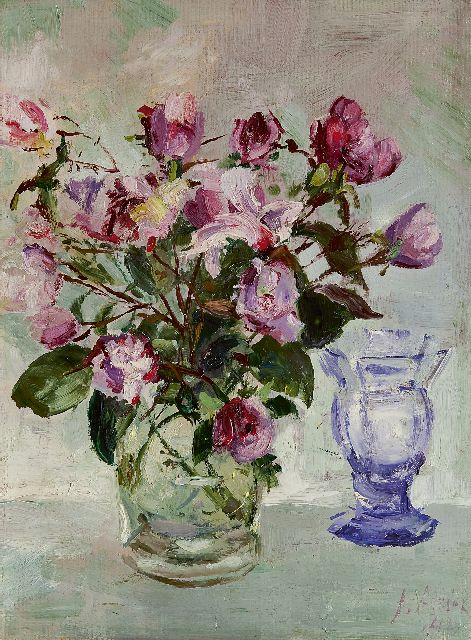 Jan Altink | Roses in a glass vase, Öl auf Leinwand, 40,0 x 30,0 cm, signed l.r. und datiert '42