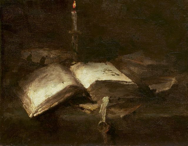 Margaretha Roosenboom | Still life with a bible, Öl auf Leinwand, 18,8 x 24,0 cm, signed l.l. with initials und executed in 1891