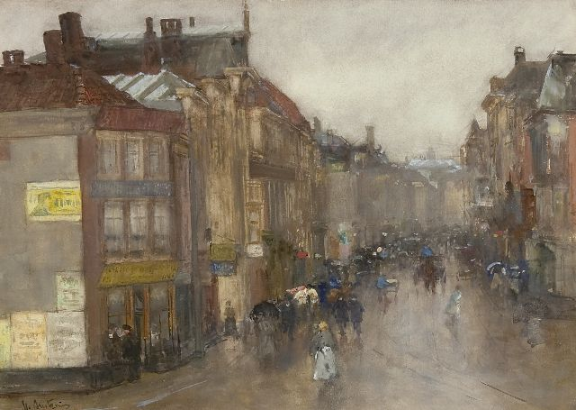 Floris Arntzenius | A view of the Wagenstraat, The Hague, Aquarell auf Papier, 36,3 x 49,7 cm, signed l.l.