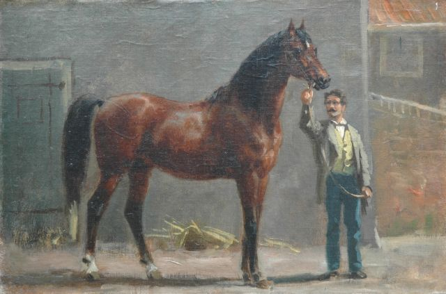 Otto Eerelman | A thoroughbred with his groom in the stable, Öl auf Leinwand auf Tafel, 35,0 x 52,0 cm