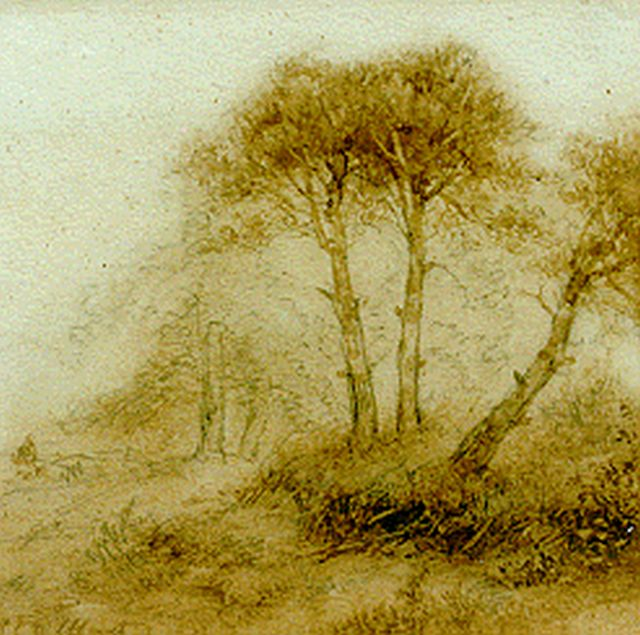 Andreas Schelfhout | A figure on a forest-path, Sepia auf Papier, 16,3 x 16,7 cm, signed l.l.