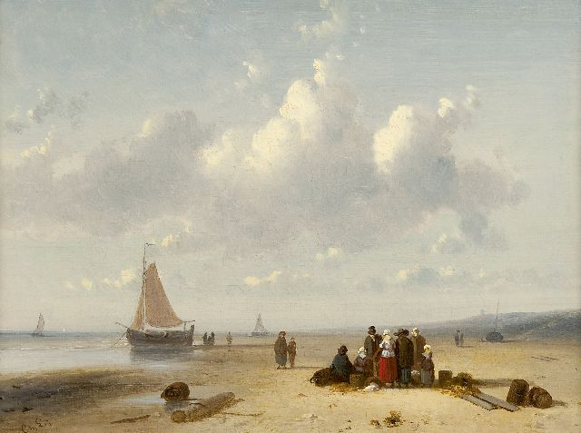 Charles Leickert | Fish auction on the beach, Öl auf Leinwand, 22,2 x 30,1 cm, signed with initials l.l.