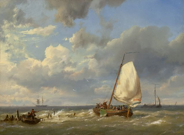 Hermanus Koekkoek | Fishing boats off the coast, Öl auf Leinwand, 31,9 x 43,5 cm, signed l.l. und dated 1859