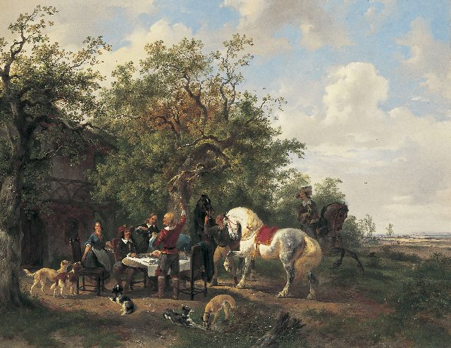 Wouterus Verschuur | An elegant company in a landscape, Öl auf Leinwand, 57,5 x 73,5 cm, signed l.r. und painted between 1838-1840