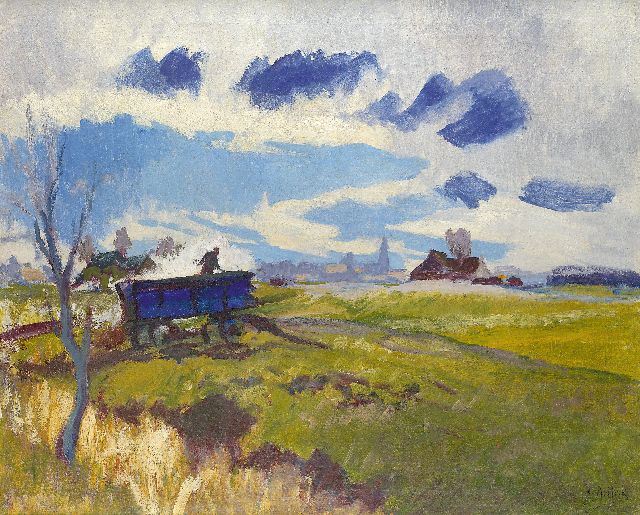 Jan Altink | Landscape in Groningen with blue wagon, Öl auf Leinwand, 64,1 x 78,2 cm, signed l.r. und zu datieren ca. 1930