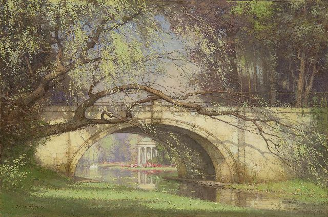 Jan Bogaerts | Bridge in the garden of Versailles, Öl auf Leinwand, 40,3 x 60,3 cm, signed l.l. und dated 1915