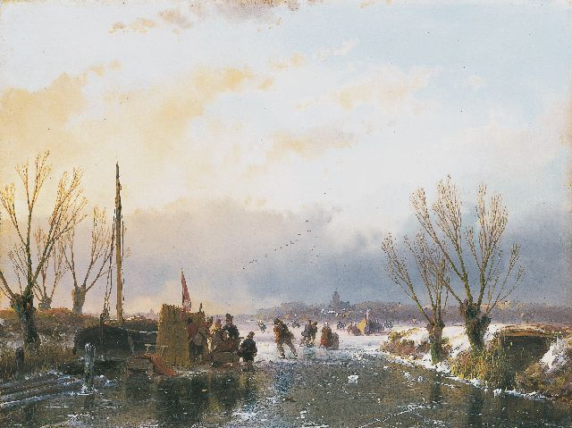 Andreas Schelfhout | A winter landscape with skaters and a 'koek-en-zopie', Öl auf Tafel, 21,6 x 28,9 cm, signed l.l. und dated 1850