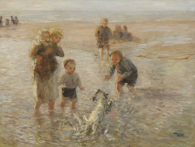 Bernard Blommers | Playing at the beach with the dog, Öl auf Leinwand, 76,3 x 100,2 cm