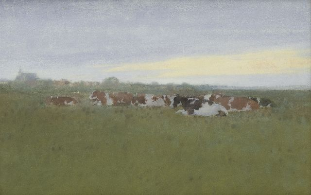 Jan Voerman sr. | Resting cows in the meadows, Hattem, Aquarell auf Papier, 27,7 x 42,9 cm, signed l.r.
