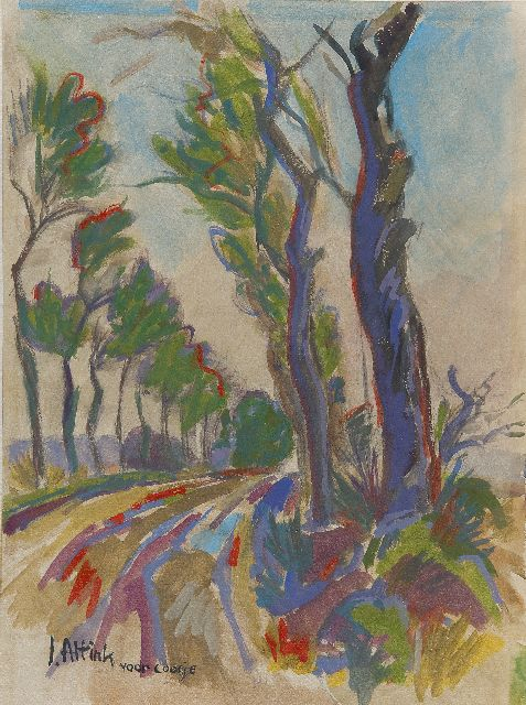 Jan Altink | A country road with trees, Aquarell auf Papier, 39,2 x 29,0 cm, signed l.l.