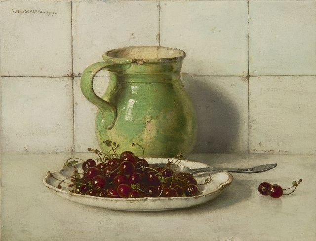 Jan Bogaerts | Still life with cherries and stoneware can, Öl auf Leinwand, 35,3 x 46,0 cm, signed u.l. und dated 1937