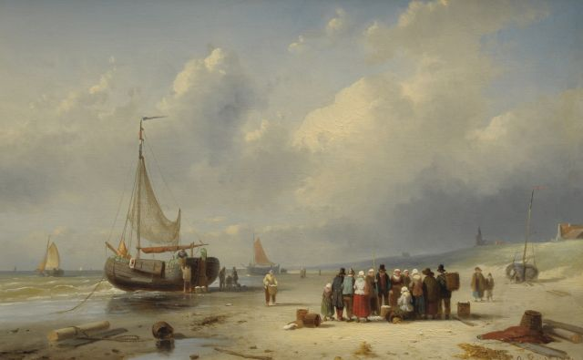 Charles Leickert | The beach of Scheveningen with barges and fishermen, Öl auf Tafel, 25,8 x 39,4 cm, signed l.r. und dated '61